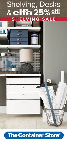 Working from home just got even more appealing thanks to our gorgeous new elfa Drawer Fronts! Our elfa Shelving and Drawer System makes it easy to create the perfect office space. And right now, it's on sale for 25% off!