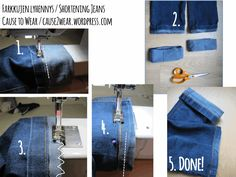 Shortening jeans and keeping the original jeans' hem. Tutorial