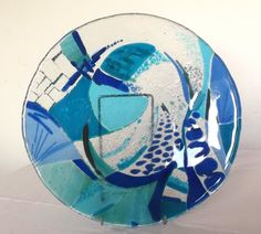 Sold, Made to order, Stained glass, Fused glass Plate, Dish, Unique, Original, Commission a piece, Original Art, Art glass Blue, Turquoise by joannahedley on Etsy https://www.etsy.com/listing/220514689/sold-made-to-order-stained-glass-fused