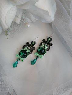 Soutache earrings. Green soutache earrings. от AMdesignSoutache