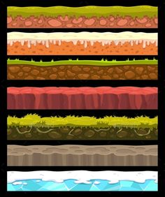 Illustration of Seamless landscape elements set, vector ground collection vector art, clipart and stock vectors. Cartoon Background, Game Background, 2d Game Art, Game Textures, Pixel Design, Landscape Elements, Game Props, V Games, Game Concept Art