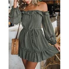 Shop Green Chiffon Off Shoulder Polka Dot Puff Sleeve Chic Women Mini Dress at victoriaswing personal womens clothing online store! high quality cheap and big discount latest fashional style! Source by sembelis Cute Summer Outfits, Cute Casual Outfits, Casual Dresses For Women, Spring Outfits, Cute Dresses, Clothes For Women, Maxi Dresses, Summer Wear, Awesome Dresses