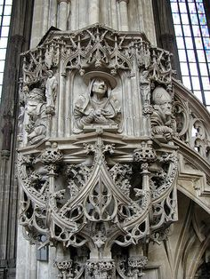 Pilgrim's Pulpit - Stephansdom (Vienna, Austria) - Gothic pulpit decorated with portraits of the Four Fathers of the church.