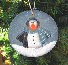 Penguin Christmas Wood Ornament Hand Painted by PaintingByEileen, $6.00