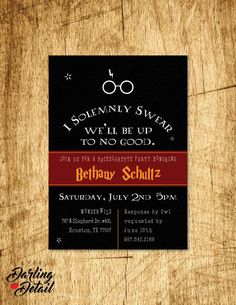 """Harry Potter Bachelorette Party Invite, I Solemnly Swear We'll Be Up to no Good! Custom Printable 5x7"""" invitation https://www.etsy.com/listing/230287133/harry-potter-inspired-bachelorette-party"""