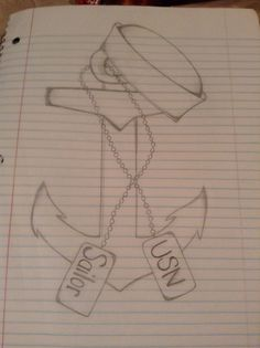 """I drew this for our dep meeting, but thought about it after, and I'd love for this to be a tattoo. I'd add a little more detail and put """"Stay the Course"""" underneath it. The saying was used by the Navy during war to give the sailors a sense of hope. Meaning, don't let anything guide you away from what you're supposed to do. :) Hooyah"""