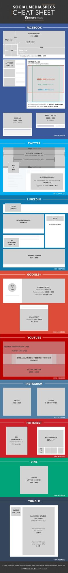 The ultimate social media image cheat sheet: what size should your #socialmedia images be? This handy guide is updated every time a social media platform changes. Pin it for future reference! #blogging