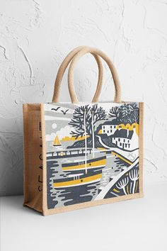 Shop Gifts for Women. Designed In Cornwall - Seasalt - Seasalt Cornwall Printed Tote Bags, Canvas Tote Bags, Jute Shopping Bags, Mint Bag, Sky Shop, Jute Bags, Fabric Painting, Clothes For Sale, My Bags