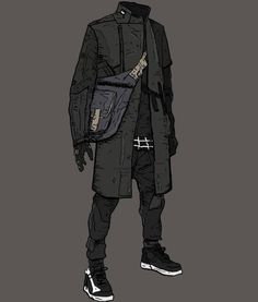 by Anton (Yoshimitszu) Mode Cyberpunk, Cyberpunk Fashion, Cyberpunk Clothes, Character Concept, Character Art, Mode Sombre, Armor Clothing, Cyberpunk Character, Drawing Clothes