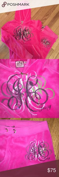 👑⚡️JUICY COUTURE TRACK SUIT!!! $328+ SZ S⚡️👑 ⚡️👑JUICY COUTURE hot pink velour tracksuit •• top has not been worn, bottoms have been worn a few times, so that the edges of the pant legs show wear. These pants are long, so if the right buyer chooses to get them hemmed, that would be cut right off! SZ SMALL •• smoke free home •• gifts with every purchase •• discounts on bundles !!! Juicy Couture Pants Track Pants & Joggers