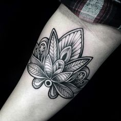 Decorative Flower Lotus Male Inner Arm Tattoo