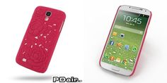 PDair Embossed Plastic Hard Back Cover for Samsung Galaxy S4 SIV LTE GT-i9500 GT-i9505 - Rose Blossom Series (Red)