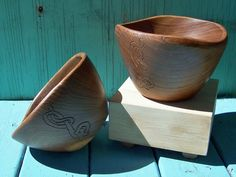 Viking Modern Ale Bowl  Refinished Teak  by FolkHearthWorkshop