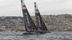 Oracle Racing Team in training with the new sail