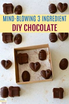 I am so excited about this DIY chocolate recipe. Not only are the chocolates delicious and my family loves them, but I know they are good for our health too. I highly recommend you try this recipe. Only 3 healthy ingredients. Gluten free, dairy free. #DI