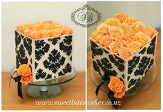 Damask cake with flowers... im thinking magenta instead of orange