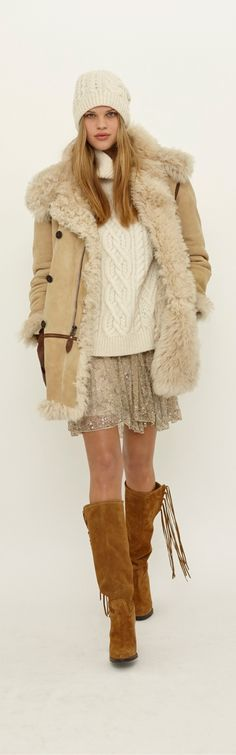 A shearling jacket, suede boots and delicately beaded skirt from the Polo Ralph Lauren Women's Fall 2015 presentation