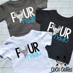 Fournado Toddler TShirt Tee T Shirt funny Tiny Terror Tornado 4 Four Fourth 4th Birthday Gift Birthday Shirt Photo Prop Op by CocoCallies on Etsy https://www.etsy.com/listing/386129576/fournado-toddler-tshirt-tee-t-shirt