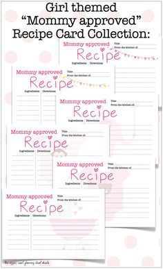 """Do that new Mommy a favor and collect """"Mommy approved"""" and tested recipes for her growing household! She'll appreciate every one!    Mommy Approved Recipe Card Set  DIY Printables  by TheAffairShop, $12.00"""