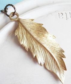 Golden Leaf Necklace Gold Brass Botanical