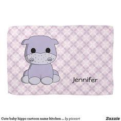 Cute baby hippo cartoon name kitchen towel