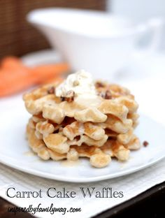 Easy Carrot Cake Waffles Recipe - Perfect for an Easter Brunch Waffle bar with the family!