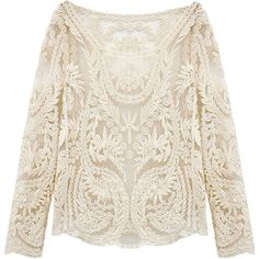 Choies White Crochet Lace Mesh Long Sleeve Blouse (94 HRK) ❤ liked on Polyvore featuring tops, blouses, choies, long-sleeve, shirts, white, white tops, mesh blouse, long sleeve blouse and shirts & blouses