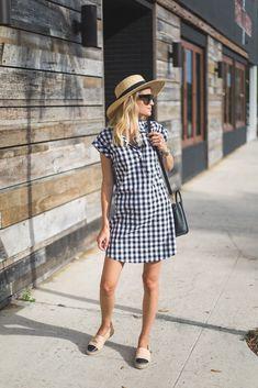 Gingham plaid summer dress, Chanel espadrilles, wide brim hat | Little Blonde Book