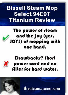Bissell Steam Mop Select Titanium 94E9T Review - It's affordable, cleans well, is easy to use but has just a few small things you should know before you buy.