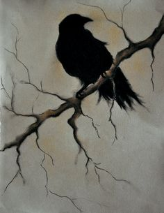 "Raven on a branch 2 ORIGINAL charcoal drawing 9.5""x12"" dark gothic bird art"