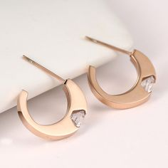 Rose Gold Stationed Stud Earrings