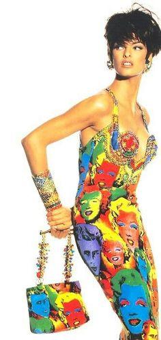 Linda Evangelista in Gianni Versace. 1990