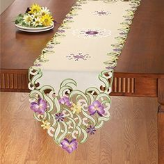 Embroidered Wildflower Table Linens, Multi, Runner Collec...
