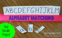 Pool Noodle Letter Matching Activity for Children.