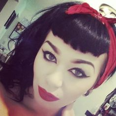 Pinup makeup and clip on Bettie bangs. #devastarrmakeup
