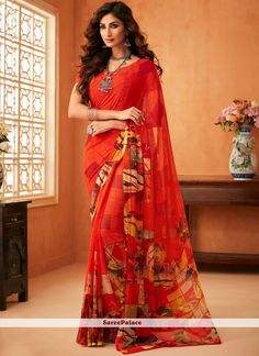 Red Printed Georgette Saree - Buy this red color printed georgette saree which comes with crepe unstitched blouse. Georgette Saree Party Wear, Bridal Silk Saree, Georgette Sarees, Party Wear Sarees, Kurti, Latest Saree Blouse, Saree Blouse Neck Designs, Saree Blouse Patterns, Plain Saree With Heavy Blouse