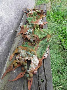 Galina Blazejewska - Nuno felted scarf - Brown green