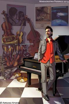 illustrazione per il sito del pianista e compositore A.Aponte  http://www.adrianoaponte.com/#!media/c1xt0 disegno e colore by me
