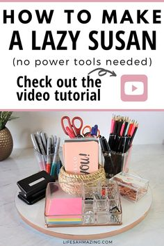 Watch this video to learn how to make a lazy susan that's sturdy, pretty and functional. This easy DIY tutorial doesn't need any power tools and you can make several lazy susans to organize different parts of your home in an afternoon. Upcycled Home Decor, Diy Home Decor, Diy Lazy Susan, Desk Supplies, Desk Organization, Power Tools, Diy Tutorial, Home Projects, Organize
