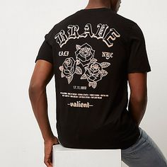 Black rose print slim fit T-shirt - print t-shirts - t-shirts / vests - men