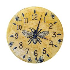 BEE~Honeybee Wall Clock in Light Yellow Glaze: Beth Sherman: Ceramic Clock Clock Art, Wall Clocks, Clock Painting, I Love Bees, Bee Art, Earthenware Clay, Bee Theme, Save The Bees, Bee Happy