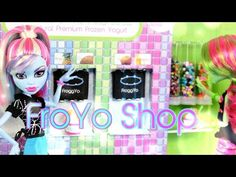 getlinkyoutube.com-DIY - How to Make:  Doll FroYo Shop - Handmade - Doll - Crafts