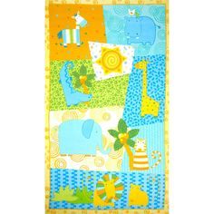 Designed by Viv Eisner and licensed to Wilmington Prints, this double napped (brushed on both sides) flannel panel measures about 24'' x 44''. Use for quilting and craft projects. Colors include white, yellow, blue, orange and green.