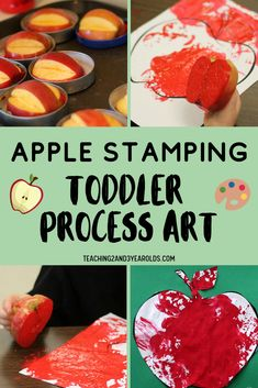 This toddler apple activity includes lots of action, so it's the perfect fall idea for busy little kids. A great process art that also builds fine motor skills! Fall Activities For Toddlers, Apple Activities, Fall Crafts For Kids, Autumn Activities, Kids Crafts, Preschool Projects, Daycare Crafts, Baby Activities, Toddler Art