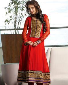 Plushy Red Salwar Kameez  Item Code: V36273  $163.32