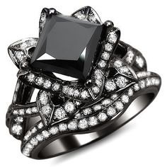 Shop for Black Gold 3 ct TDW Certified Black Princess Cut Lotus Flower Diamond Ring Set. Get free delivery On EVERYTHING* Overstock - Your Online Jewelry Destination! Gothic Engagement Ring, Round Cut Engagement Rings, Engagement Ring Styles, Solitaire Engagement, Lotus Engagement Ring, Wedding Engagement, Gold Band Ring, Gold Diamond Rings, Solitaire Diamond