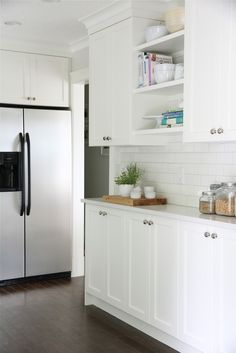 Narrow lower cabinets with uppers. Looks amazing.