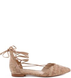 Pointy Toe Lace-Up cork Flat Wrap-Around Laces Leather Insole Leather Outsole Upper: Cork