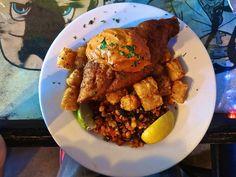 catfish, tater tots, corn relish at Q Restaurant in San Francisco http://placesiveeaten.blogspot.com/2014/06/q-restaurant-final-meal-at-last-call.html