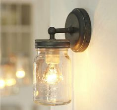 Exeter Sconce Pottery Barn ah, mason jar sconce. Mason Jar Sconce, Pottery Barn Diy, Wall Lights Retro, Glass Jar Lamps, Rustic Wall Lighting, Bottle Lights, Mason Jar Wall Sconce, Wall Sconce Lighting, Glass And Aluminium